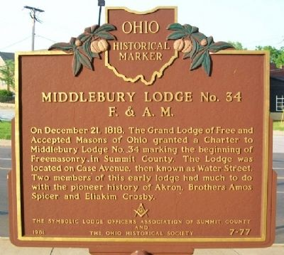 Middlebury Lodge No. 34 F.&A.M. Marker image. Click for full size.