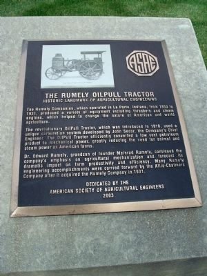 Right Plaque - - The Rumely OilPull Tractor Marker image. Click for full size.
