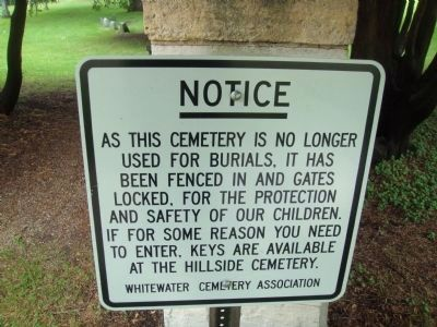 Oak Grove Cemetery Notice image. Click for full size.