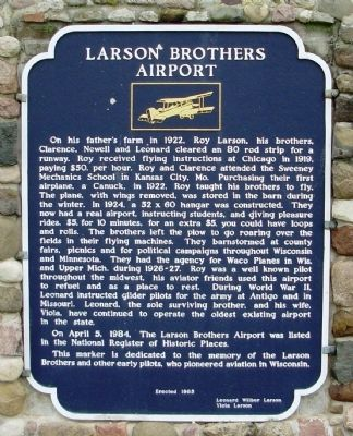 Larson Brothers Airport Marker image. Click for full size.