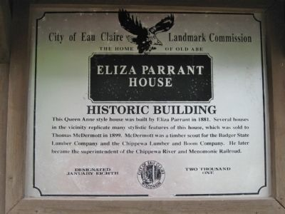 Eliza <i>Parrant</i> House Marker image. Click for full size.