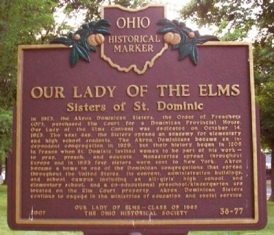 Our Lady of the Elms Marker (Side B) image. Click for full size.