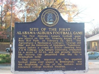Site of the First Alabama - Auburn Football Game Marker image. Click for full size.