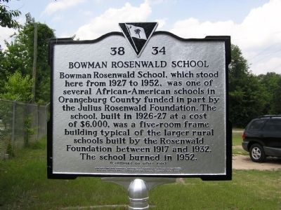 Bowman Rosenwald School Marker image. Click for full size.