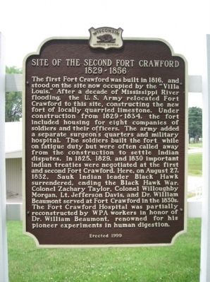 Site of the Second Fort Crawford Marker image. Click for full size.