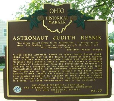 Astronaut Judith Resnik Marker image. Click for full size.