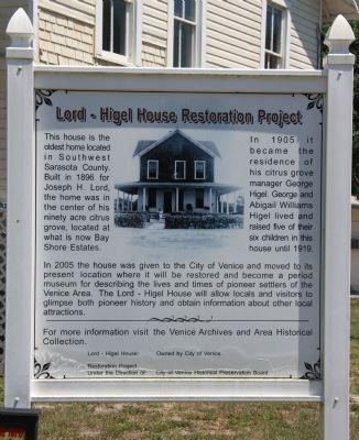 Lord - Higel House Restoration Project Marker image. Click for full size.