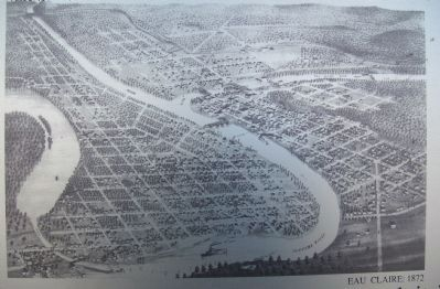 Closeup of 1872 Bird's-Eye View of Eau Claire on Marker image. Click for full size.