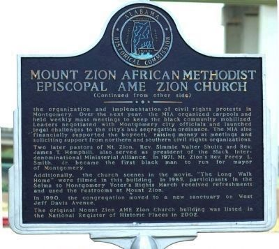Mount Zion African Methodist Episcopal AME Zion Church Marker image. Click for full size.