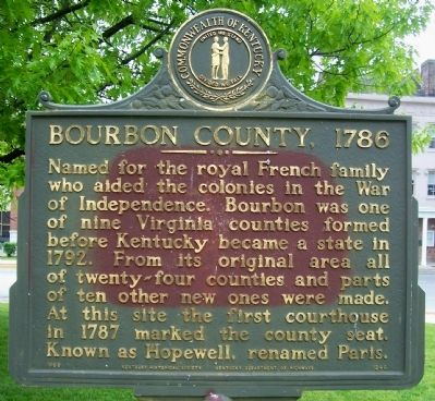 Bourbon County, 1786 Marker image. Click for full size.