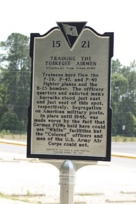 Training the Tuskegee Airmen Marker, reverse side image. Click for full size.