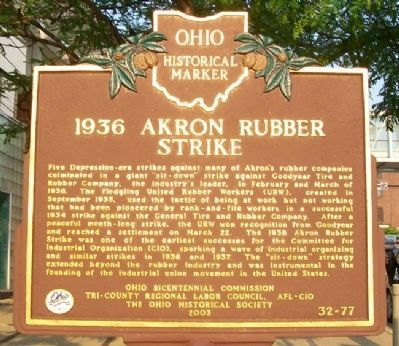 1936 Akron Rubber Strike Marker image. Click for full size.