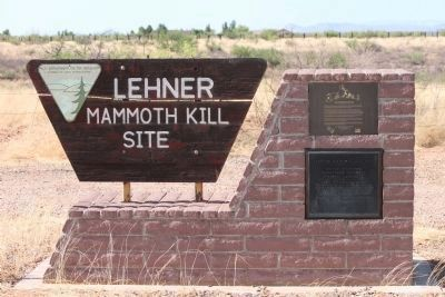 Lehner Mammoth Kill Site Entrance Sign and Markers image. Click for full size.