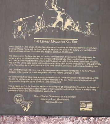 Lehner Mammoth Kill Site Marker - BLM marker image. Click for full size.