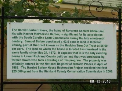 Harriet Barber House Fact Sign image. Click for full size.