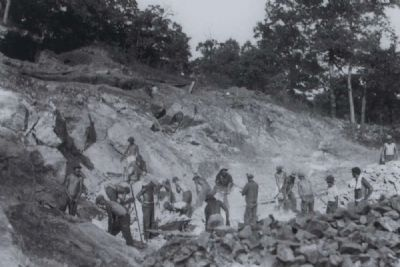 Parsons Mountain Marker -<br>Civilian Conservation Corps Crew Working on Road Bed image. Click for full size.