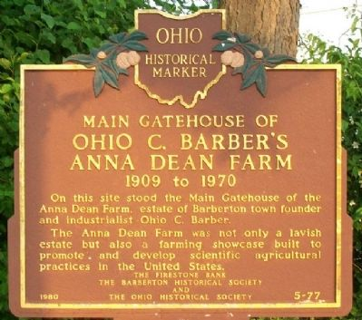 Main Gatehouse of Ohio C. Barber's Anna Dean Farm Marker image. Click for full size.