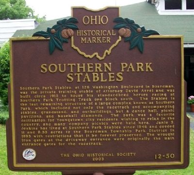 Southern Park Stables Marker image. Click for full size.