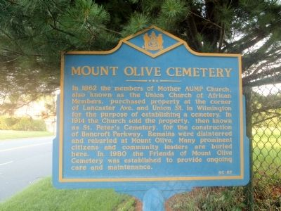 Mount Olive Cemetery Marker image. Click for full size.