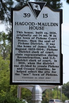 Hagood-Mauldin House Marker (front) image. Click for full size.