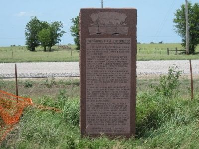 Oklahoma's First Waterflood Marker image. Click for full size.