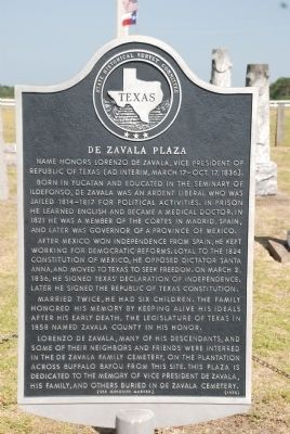 De Zavala Plaza Marker image. Click for full size.