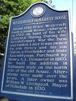 Westervelt-Demarest House Marker image. Click for full size.