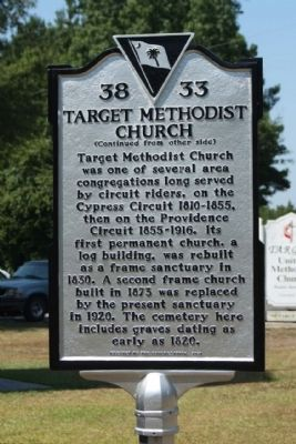Target Methodist Church Marker, reverse side image. Click for full size.