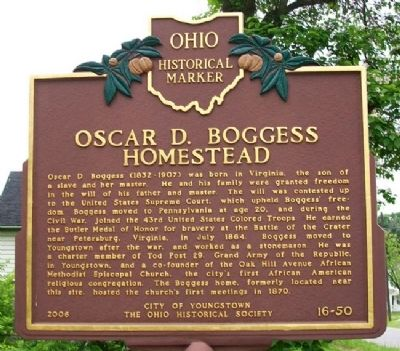 Oscar D. Boggess Homestead Marker (Side A) image. Click for full size.