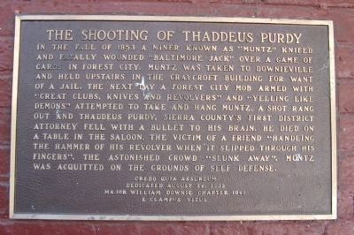 The Shooting of Thaddeus Purdy Marker image. Click for full size.