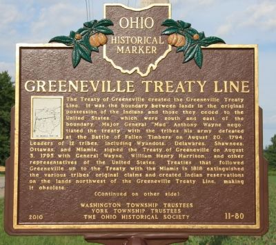 Greeneville Treaty Line Marker image. Click for full size.