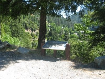 The Marker with the Town of Downieville in the Background image. Click for full size.