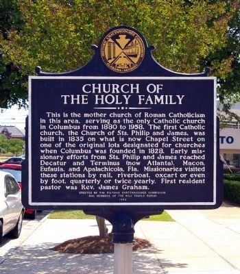 Church of the Holy Family Marker, Front image. Click for full size.