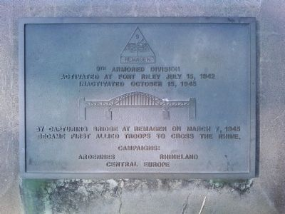 9th Armored Division Marker image. Click for full size.