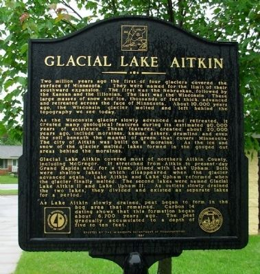 Glacial Lake Aitkin Marker (side 1) image. Click for full size.