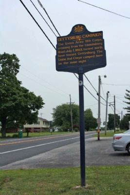 Gettysburg Campaign Marker, looking south along Taneytown Road (State Route 134) image. Click for full size.