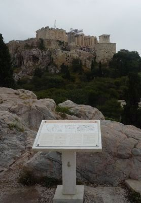 Areopagus Hill Marker - with the Acropolis Hill in background image. Click for full size.