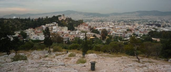 Nymph's Hill, seen to the northwest from Areopagus Hill image. Click for full size.