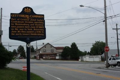 Gettysburg Campaign Marker near the intersection of Hunterstown Hampton Road and Carlisle Pike image. Click for full size.