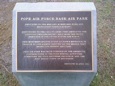 Pope Air Force Base Air Park Marker image. Click for full size.