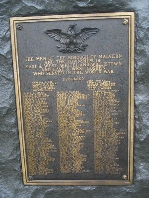 Malvern Area World War I Memorial Marker image. Click for full size.