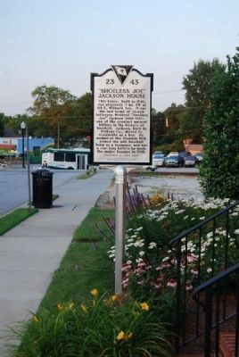 """Shoeless Joe"" Jackson House Marker <br>Front image. Click for full size."