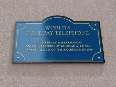 World's First Pay Telephone Marker image. Click for full size.