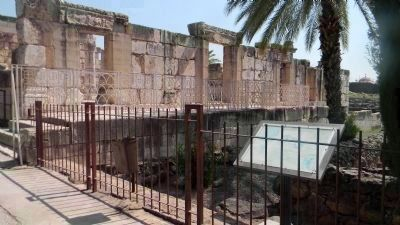 The ancient Capharnaum Synagouge, undergoing restoration very near the home of the apostles <br> image. Click for full size.