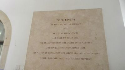 Interior marker commemorating the 1964 visit of Pope Paul VI to the Church of the Beatitudes image. Click for full size.