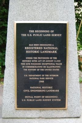 Beginning Point of the U. S. Public Land Survey Marker image. Click for full size.