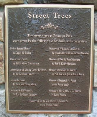 Peterson Park Street Trees Marker image. Click for full size.