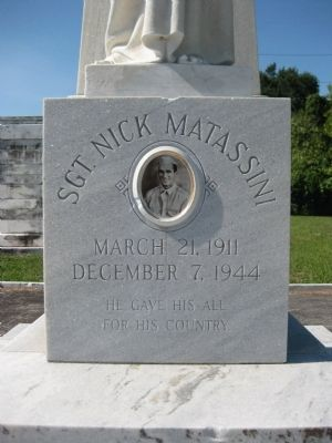 Sgt. Nick Matassini Marker: Front image. Click for full size.
