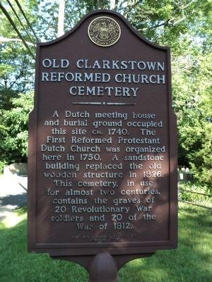 Old Clarkstown Reformed Church Cemetery Marker image. Click for full size.