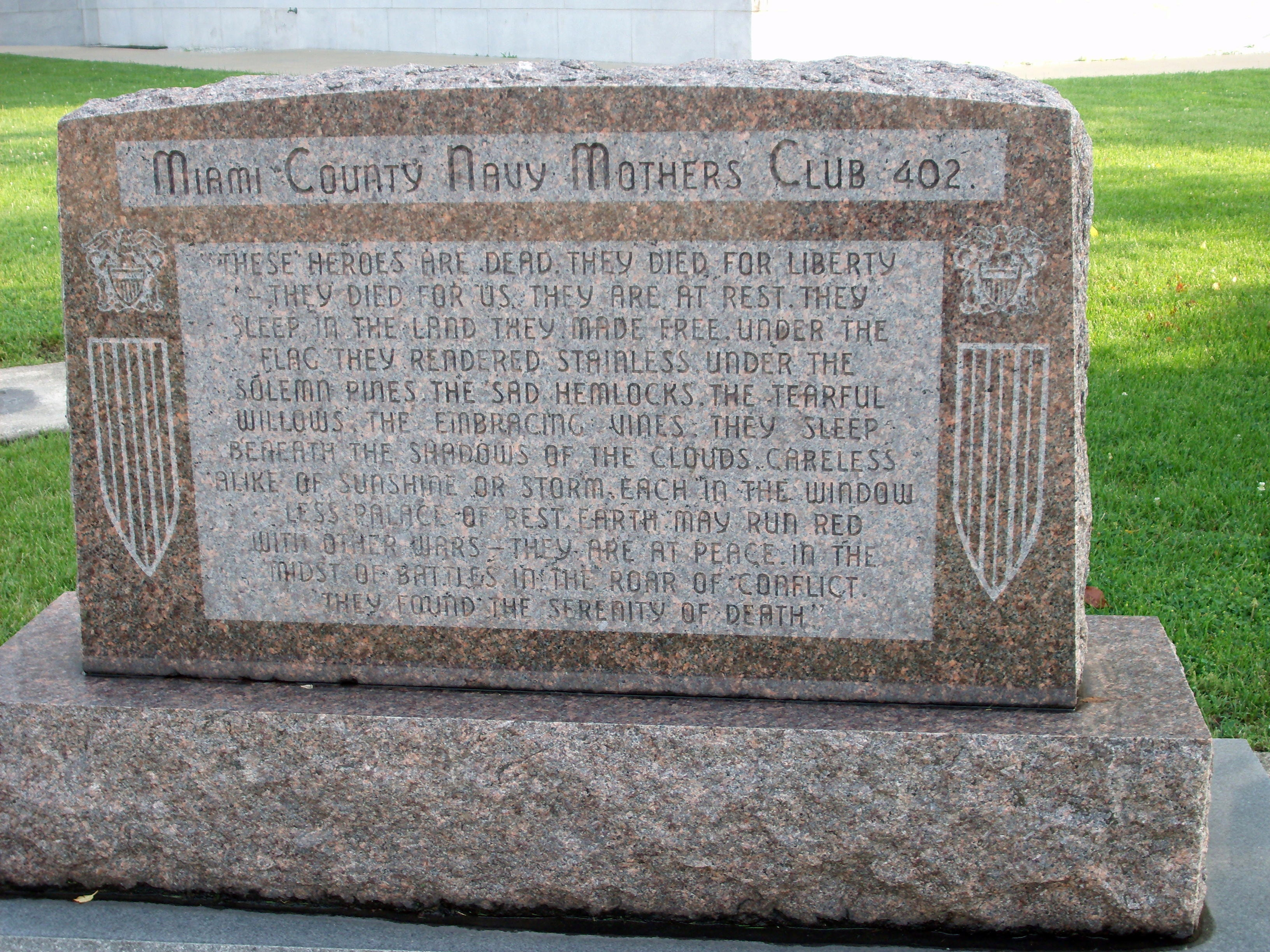 Miami County Navy Mothers Club 402 Marker